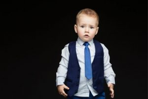 boy in nice toddler outfit