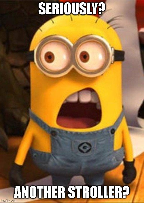 This meme shows a minion reacting to the shock of having to buy another stroller!