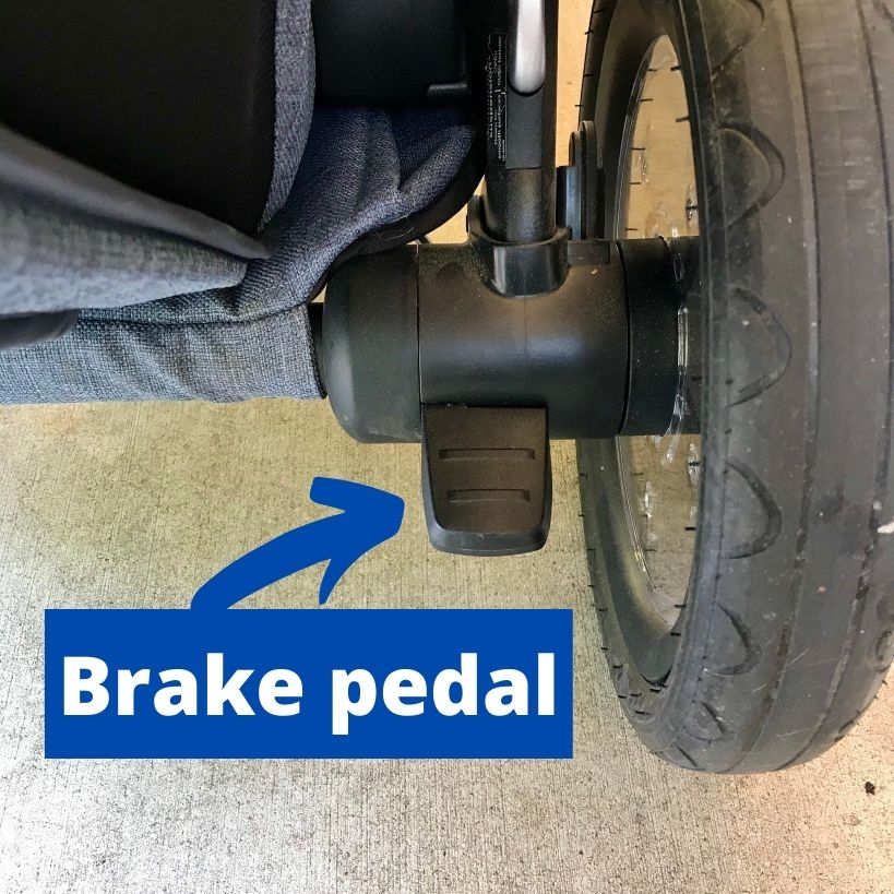 Picture shows break pedal near wheel you use to put break on and keep stroller from moving.
