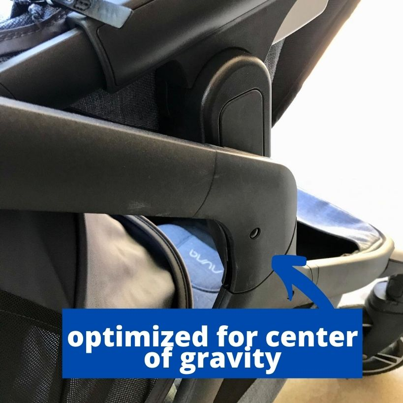 Image of the balancing joint that allows the stroller to glide smoothly.