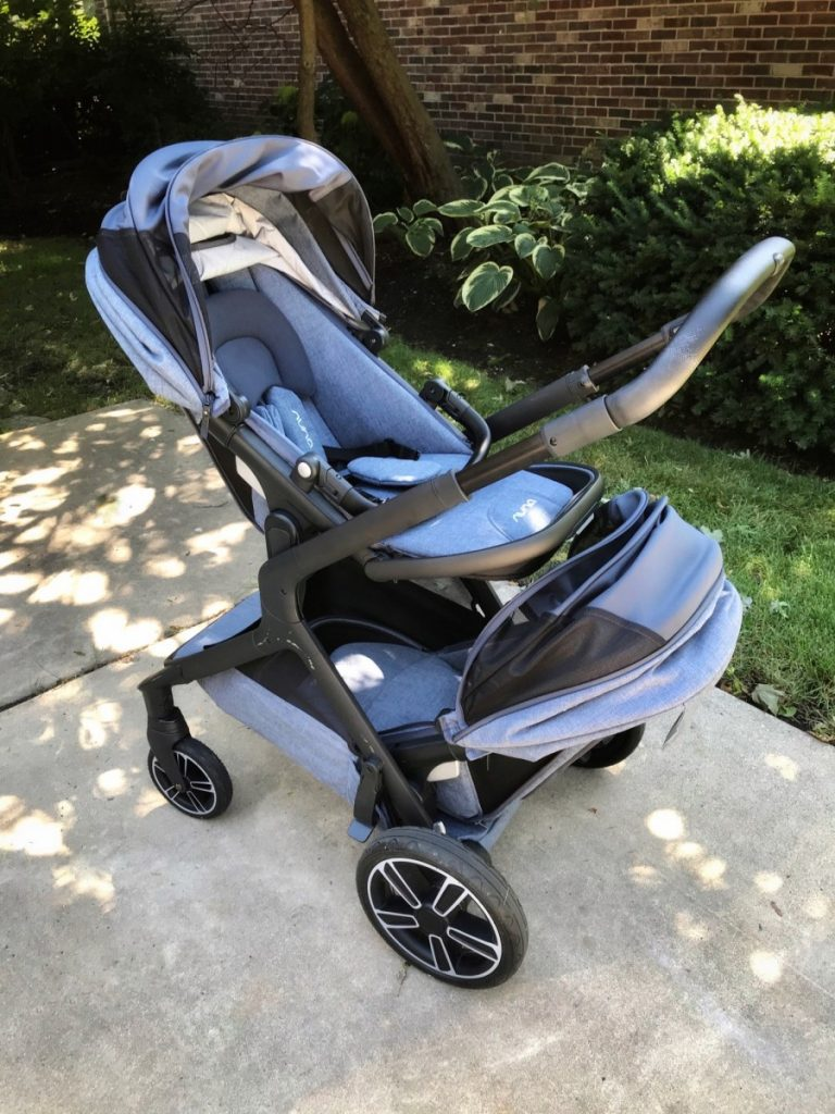 Picture the Nuna Demi Grow Stroller with a seat up top and seat below.