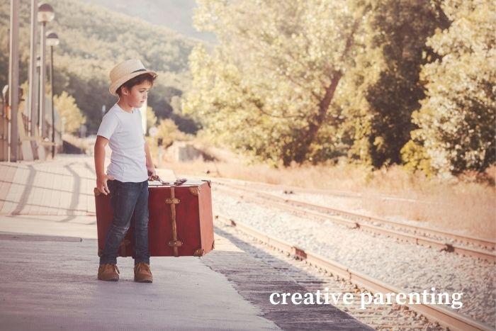 free-range parenting boy at railway