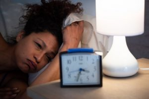 woman with postpartum insomnia